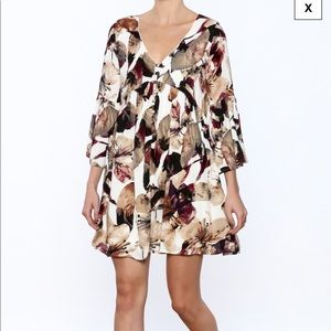 Entro autumn floral boho dress L fall flowy